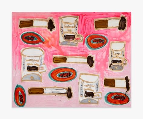 Katherine Bernhardt Mr. Coffee, Papaya, and Cigarettes