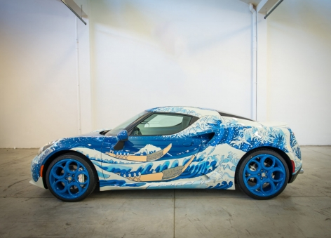 Garage Italia Customs Alfa Romeo 4C painted with Hokusai's The Great Wave off Kanagawa, 2016
