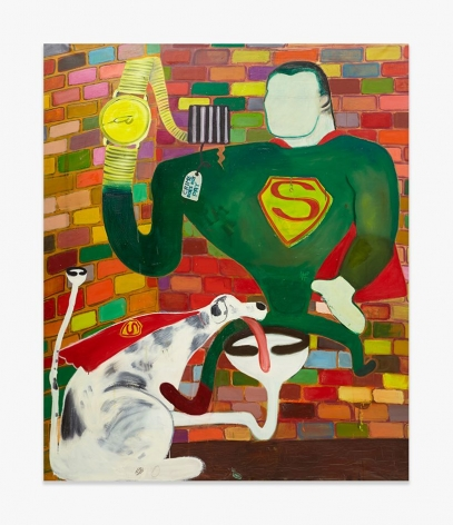 """Peter Saul, """"Superman and Superdog in Jail,"""" 1963."""