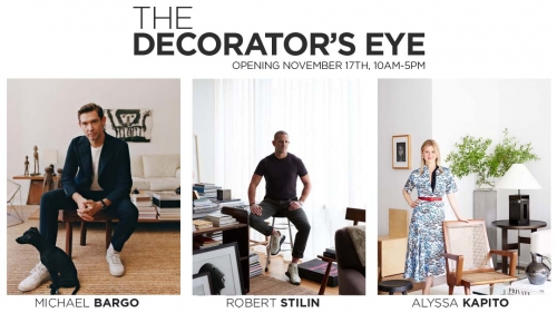 """The Decorator's Eye"" exhibition banner with portraits of Michael Bargo, Robert Stilin and Alyssa Kapito"