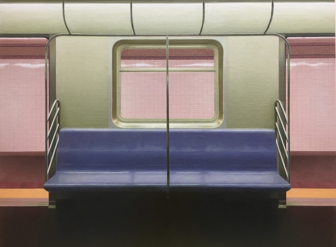"Nicole Parker, E Train, 24"" x 30"", Oil On Linen-Mounted Panel"
