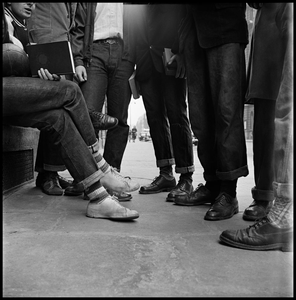 American Boys' Feet on Street, Paris, France, 1951