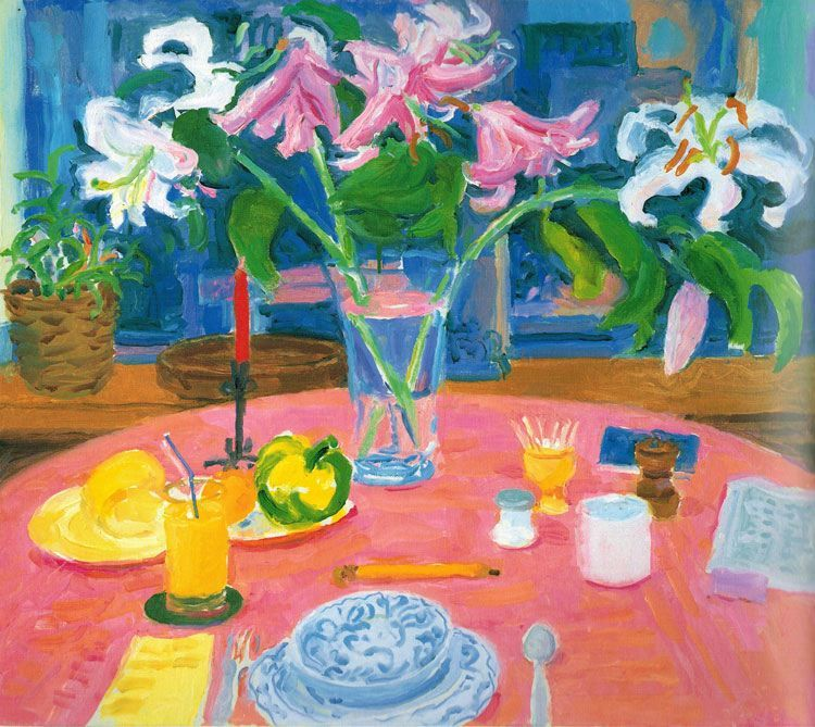 Nell Blaine White Lilies, Pink Cloth, 1990