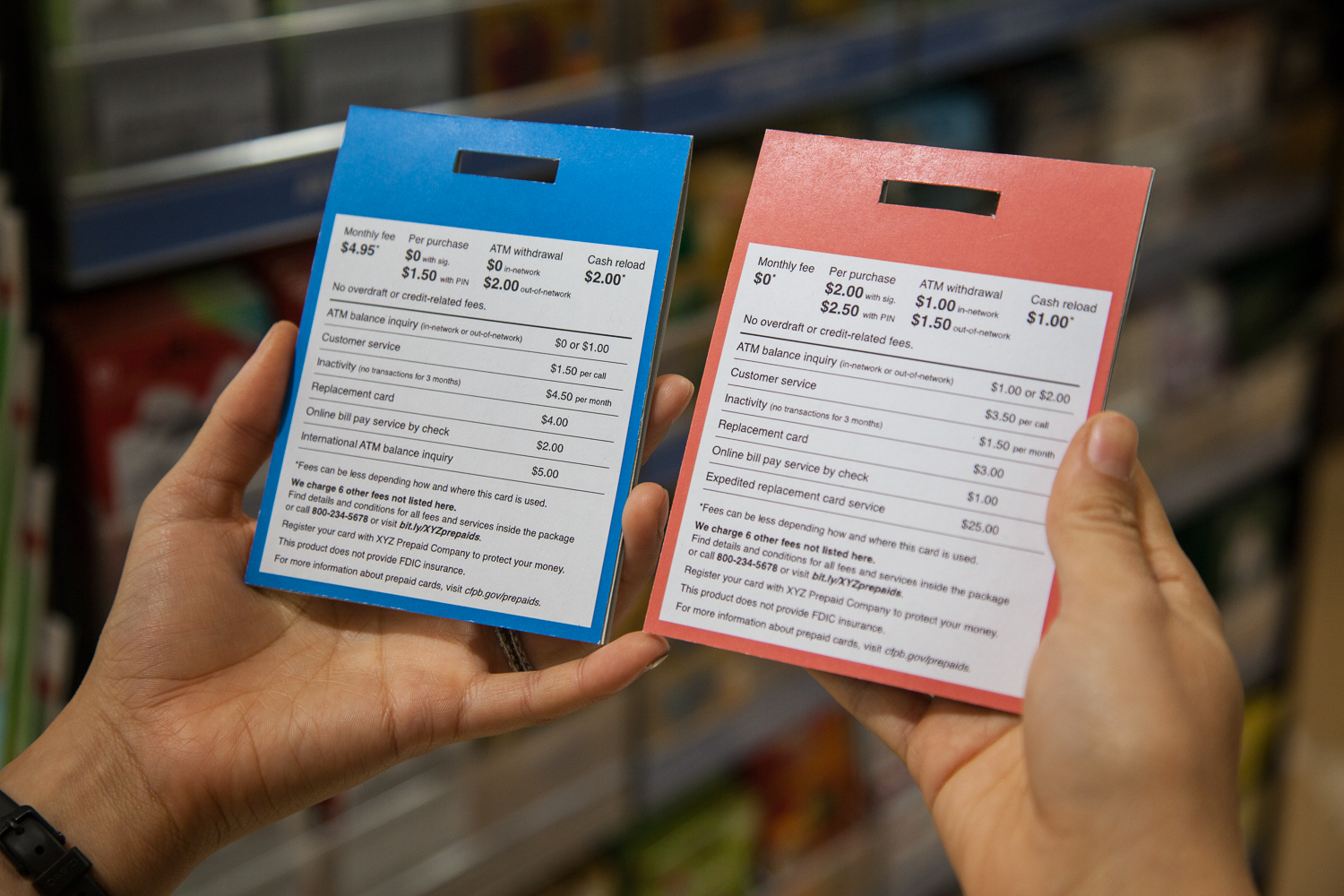 Our proposed short-form disclosure with information for two different sample cards, compared side by side on packaging like a prepaid card might be sold in.