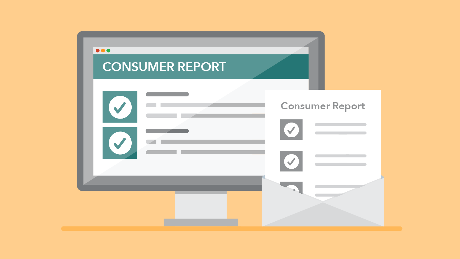 graphic of screen and document with consumer reports titles