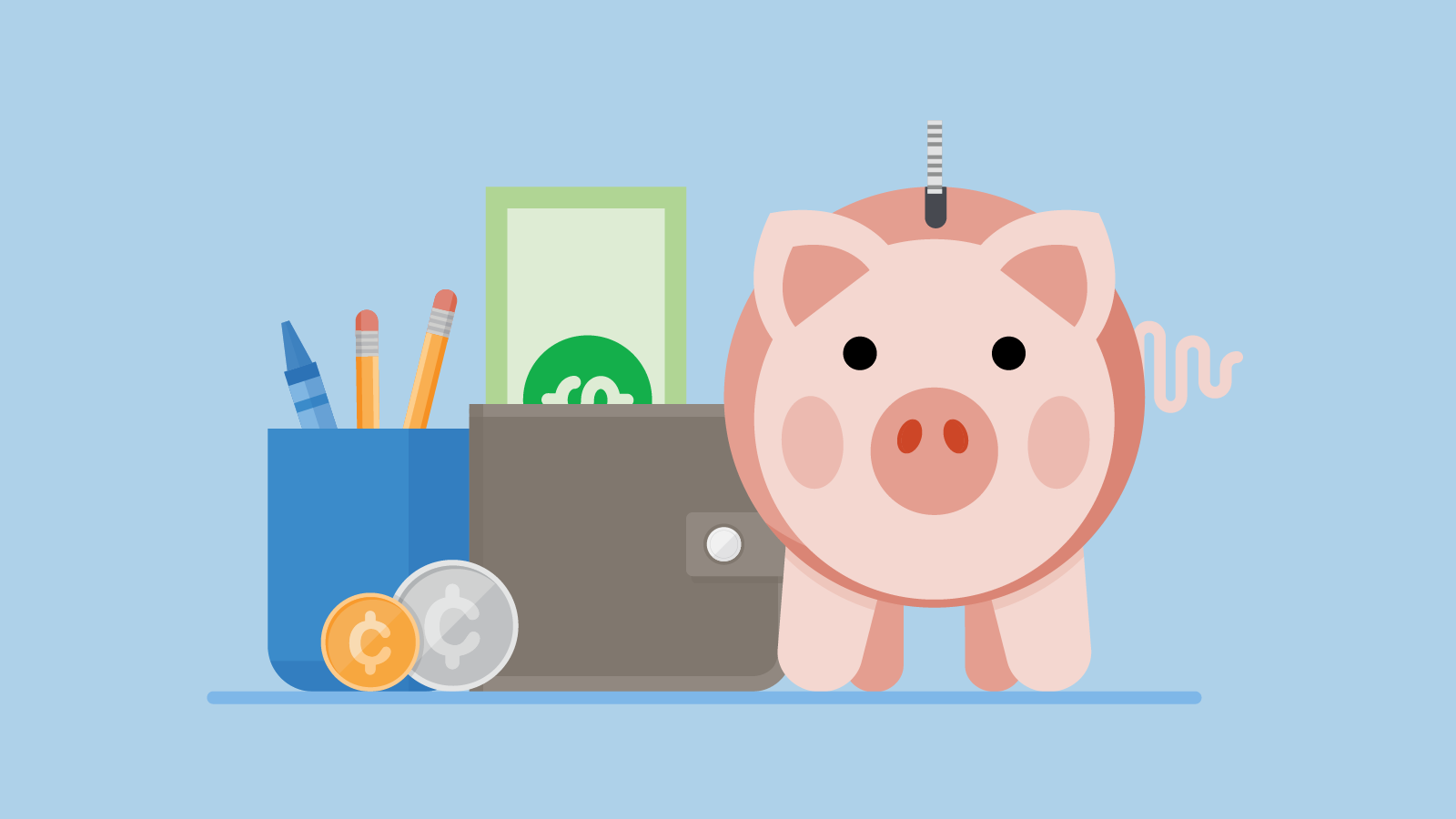 Money as You Grow graphic: a piggy bank and a wallet with coins and bills