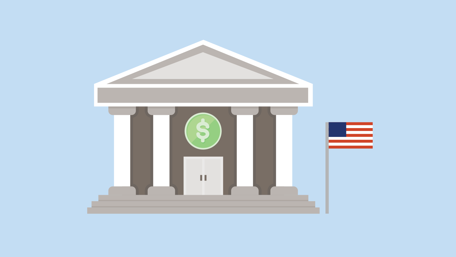 stately columned building with a dollar sign over the door and flag at full mast