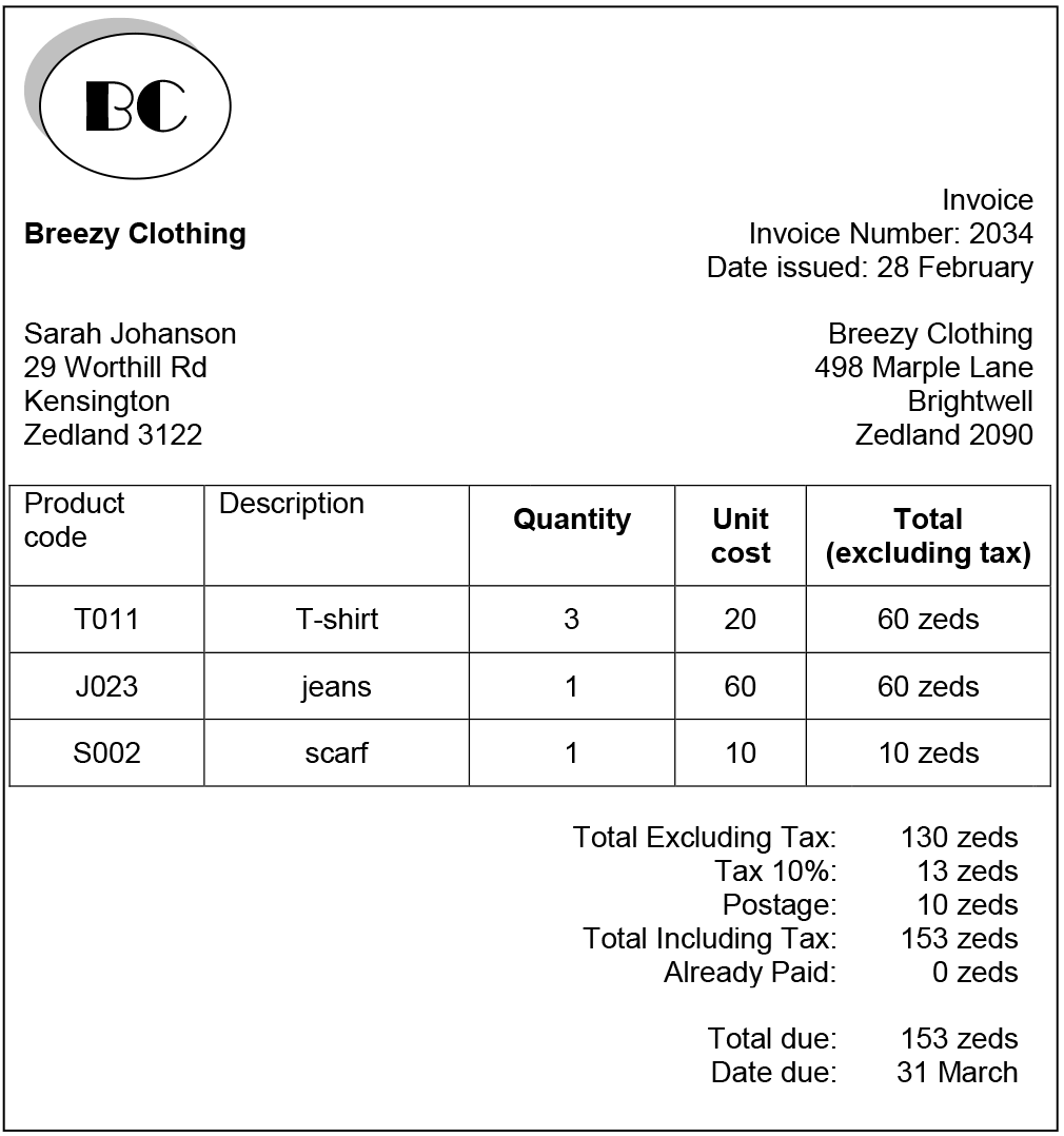 Graphic of an invoice Sarah receives in the mail from Breezy Clothing detailing a clothing purchase.