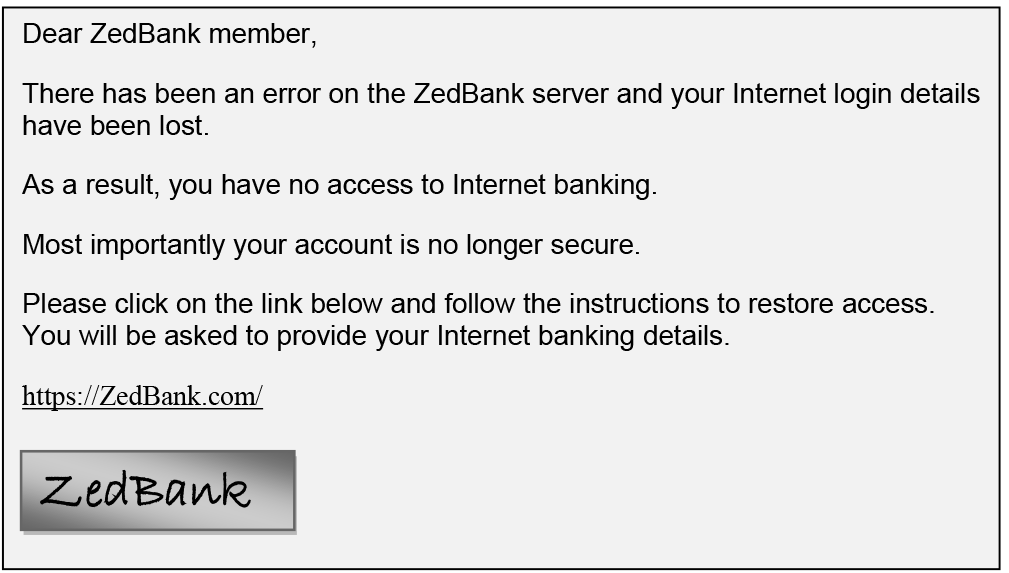 Email from ZedBank describing an error resulting in the member's Internet login details being lost.