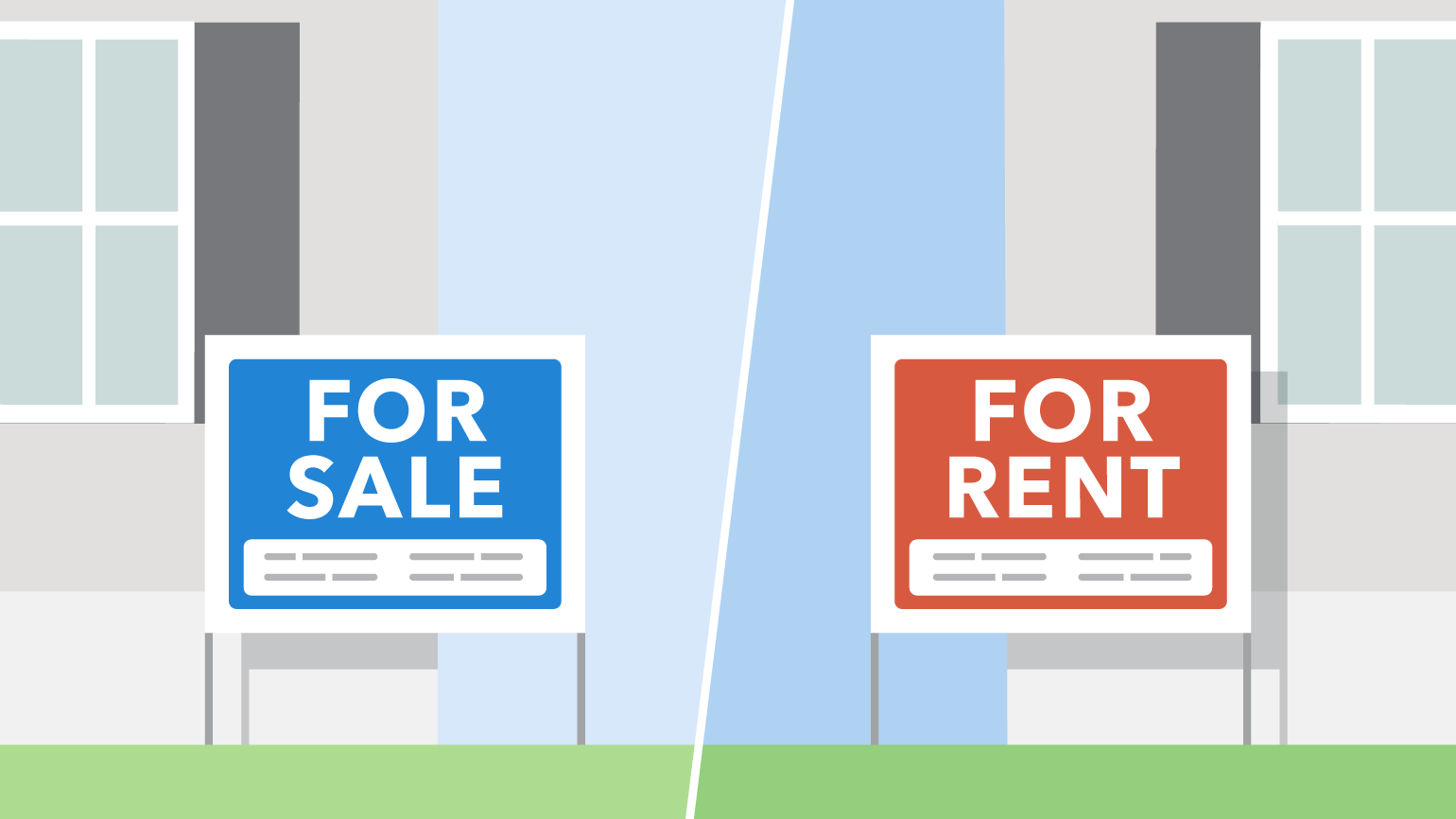 Rent versus buy signs - blog header image