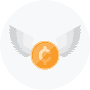 Illustration of a coin with wings