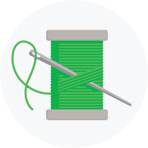 Illustration of a needle and thread