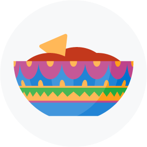 Illustration of a bowl of salsa and chips