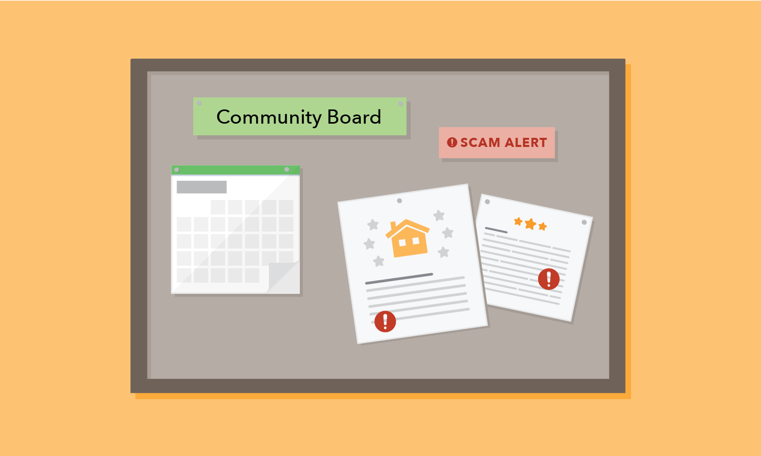 Community board with scam alerts