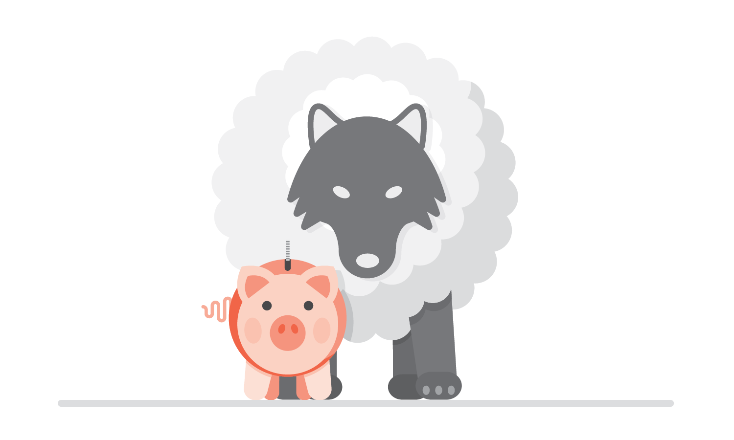 Wolf in a cloud behind a piggy bank