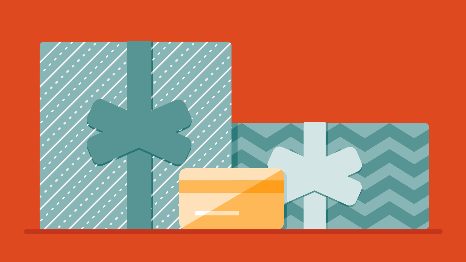 Wrapped gifts and a credit card
