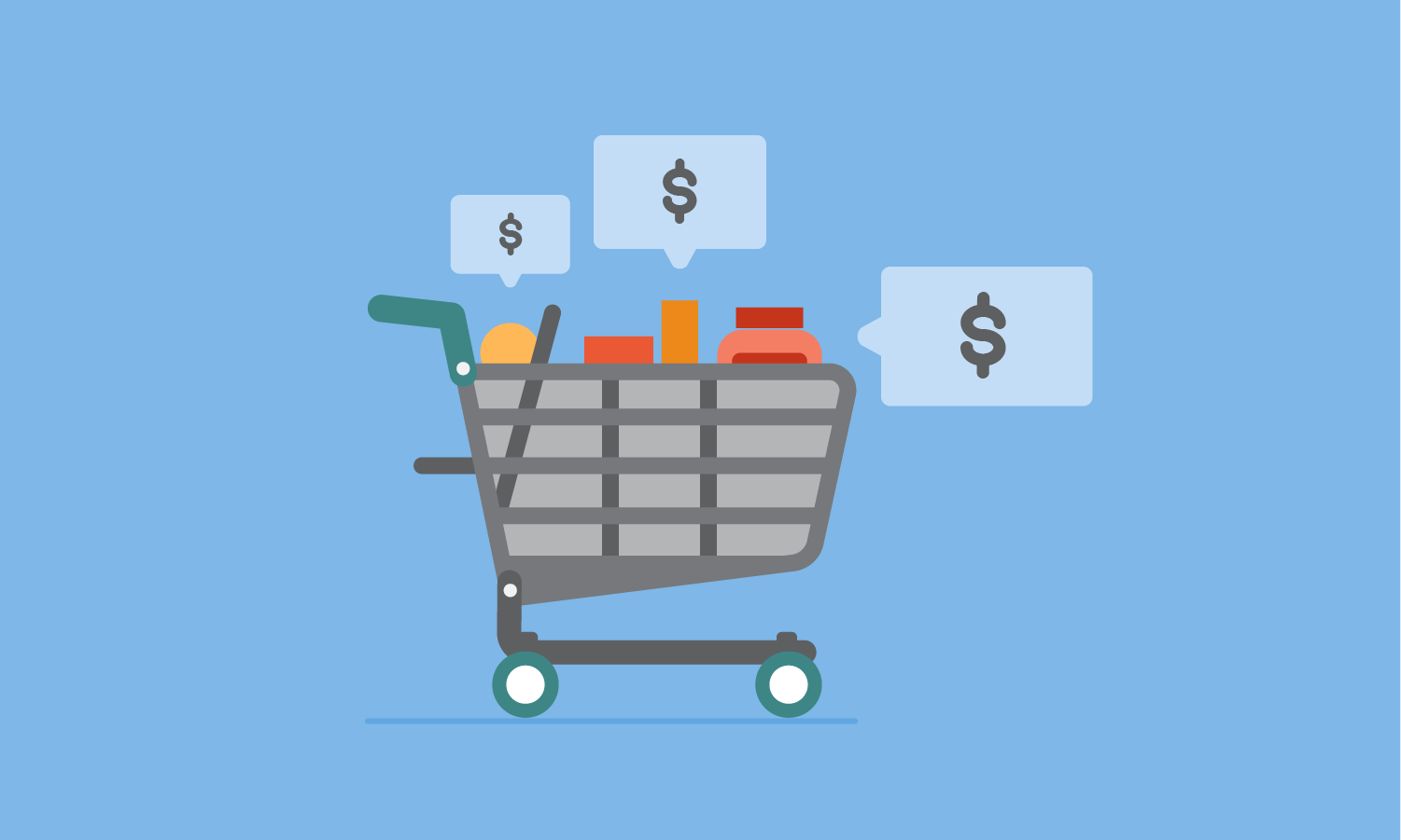 Grocery shopping cart surrounded by dollar signs in speech bubbles