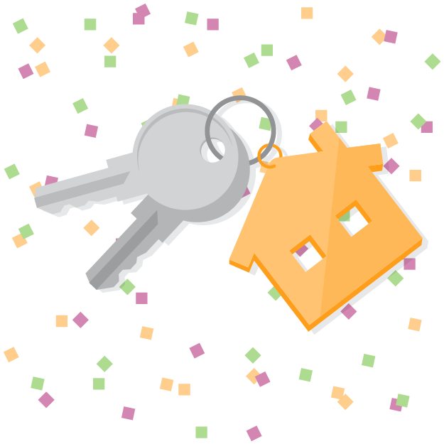 House keys with New Year's confetti in background