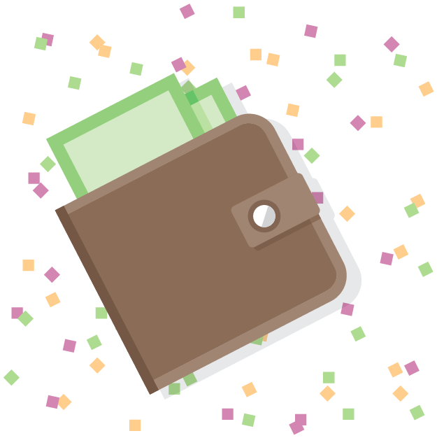 Wallet with New Year's confetti in background