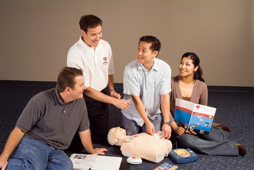 Image of person in classroom teaching CPR
