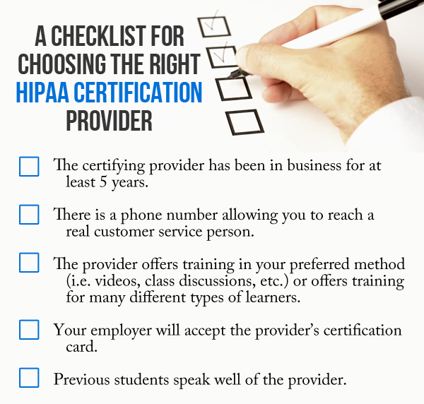 Checklist for choosing a HIPAA certification company