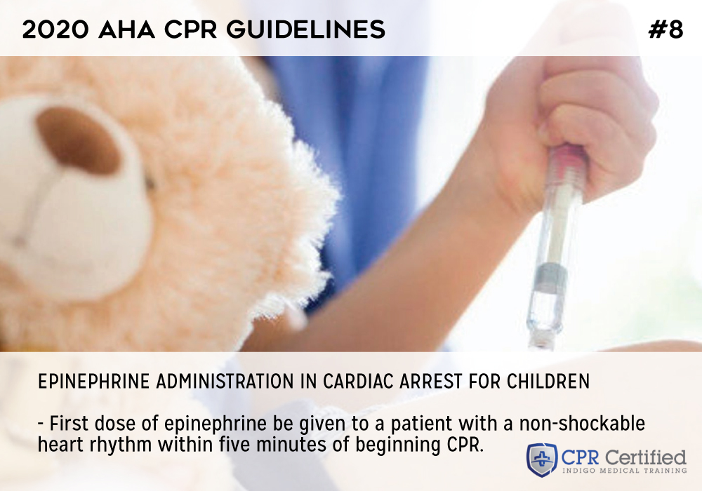 Epinephrine administration in cardiac arrest for children - 2020 AHA Guidelines CPRCertified