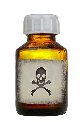 bottle with skull and crossbones