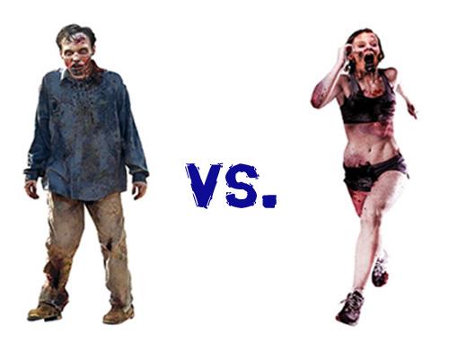 walking zombie vs running zombie