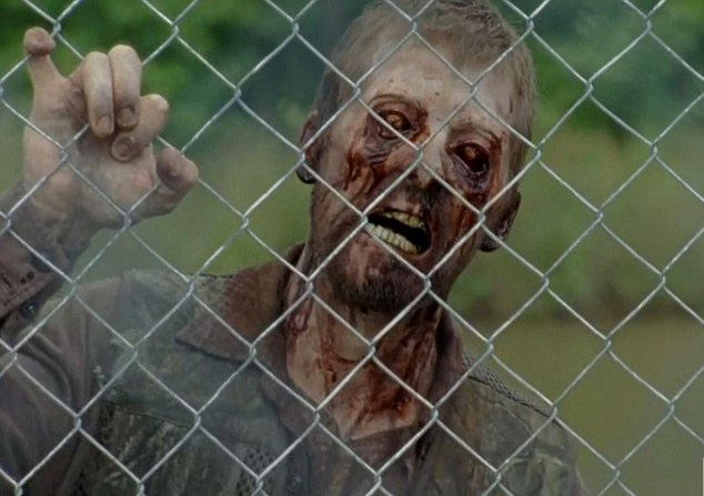 zombie isolated behind gate