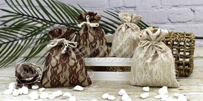 Burlap lace pouches wholesale