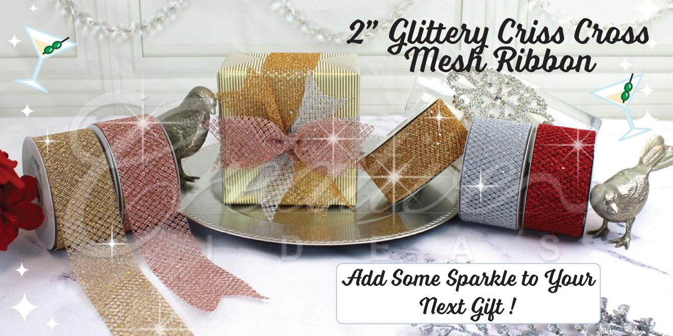 glittery criss cross mesh ribbon