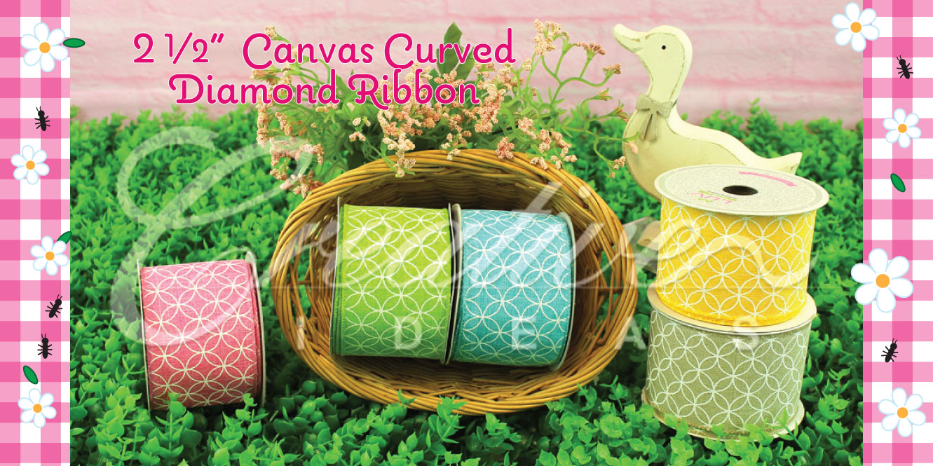 canvas curved diamond ribbons
