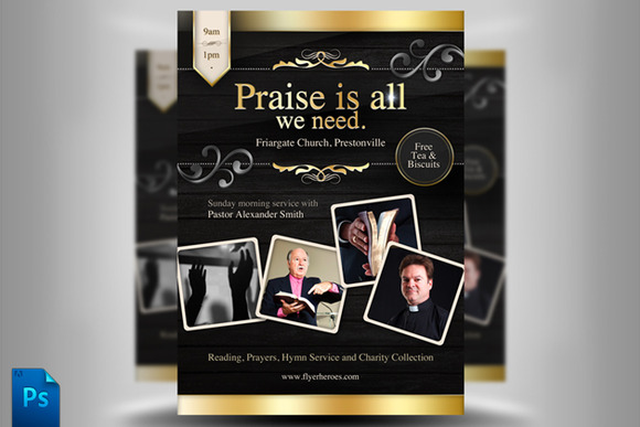 Church flyer template flyer templates on creative market for Religious flyers template free