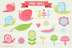 Illustrations ~ Spring Snails by MelsBrushes