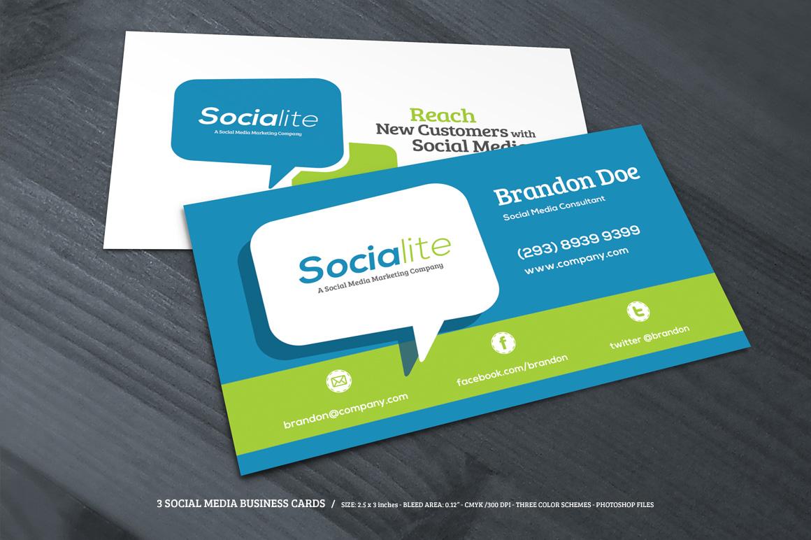 3 social media business cards business card templates on. Black Bedroom Furniture Sets. Home Design Ideas