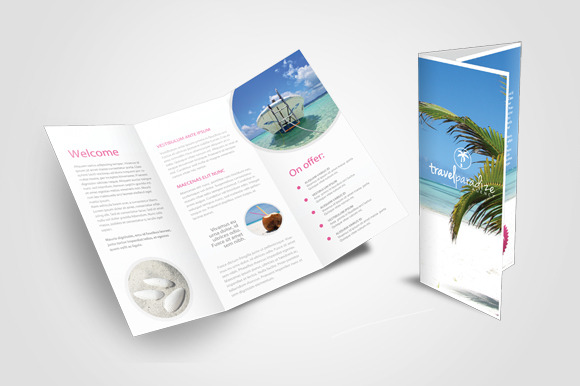 Travel agency tri fold brochure templates on creative market for Travel agency brochure template