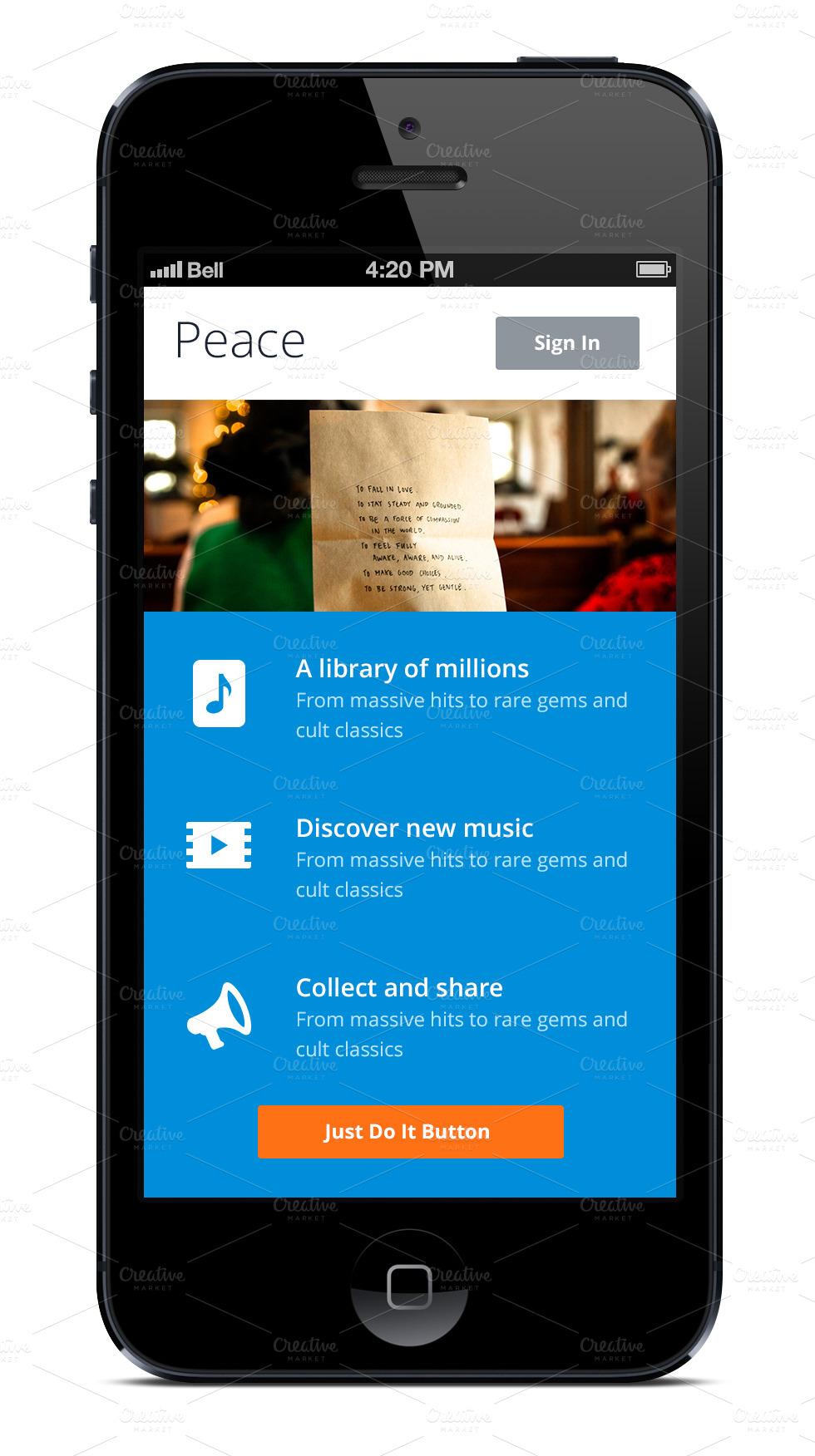 iphone app template blue website templates on creative market. Black Bedroom Furniture Sets. Home Design Ideas