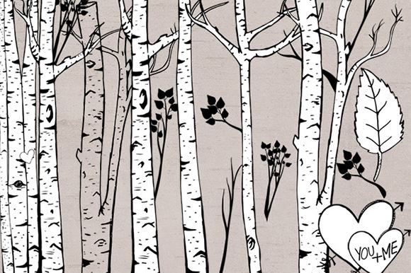 Birch Tree Clipart Photoshop Brush Illustrations On