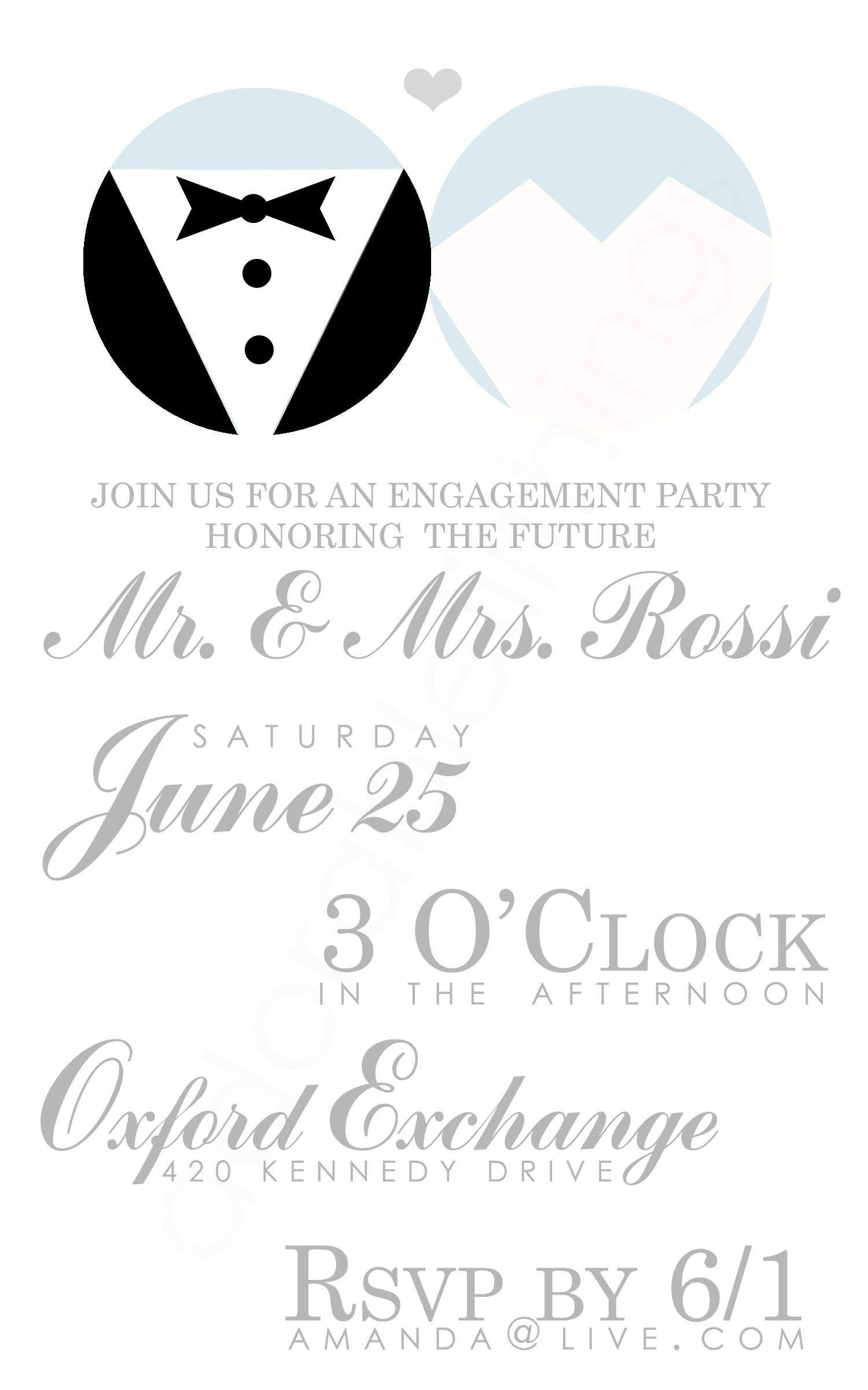Bride, Groom Engagement Party Invite ~ Invitation Templates on Creative Market