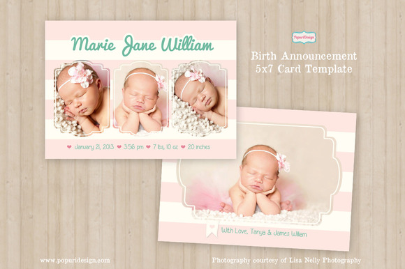 5x7 birth announcement card template card templates on creative market. Black Bedroom Furniture Sets. Home Design Ideas