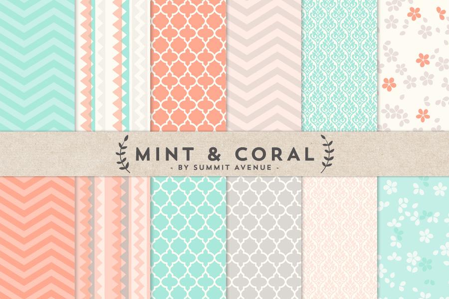 mint chevron patterns coral - photo #22