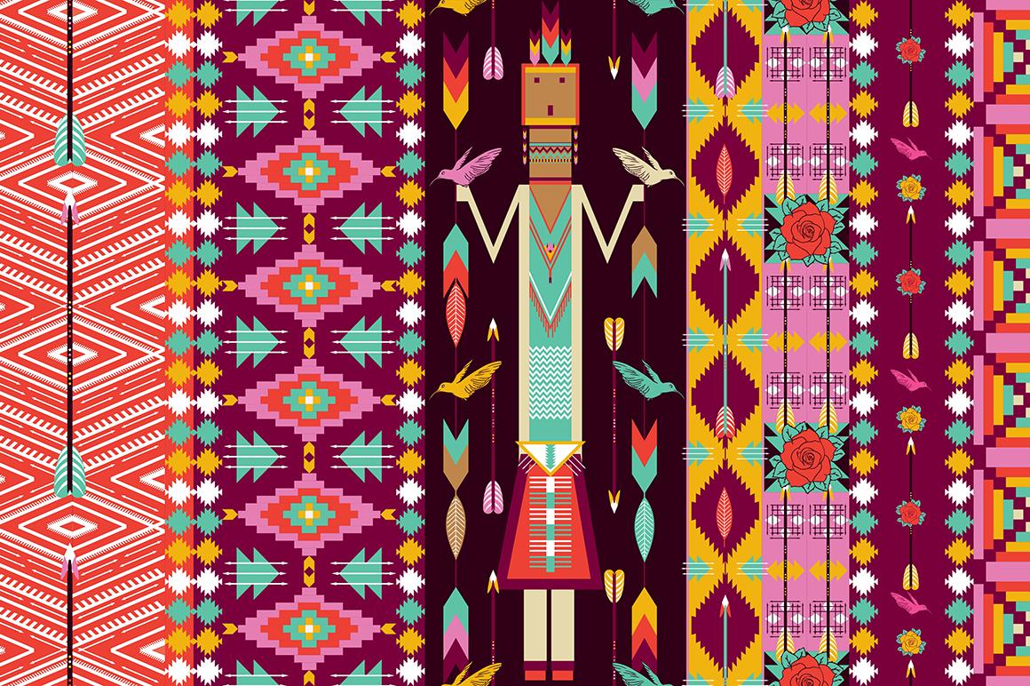 seamless colorful aztec pattern patterns on creative market