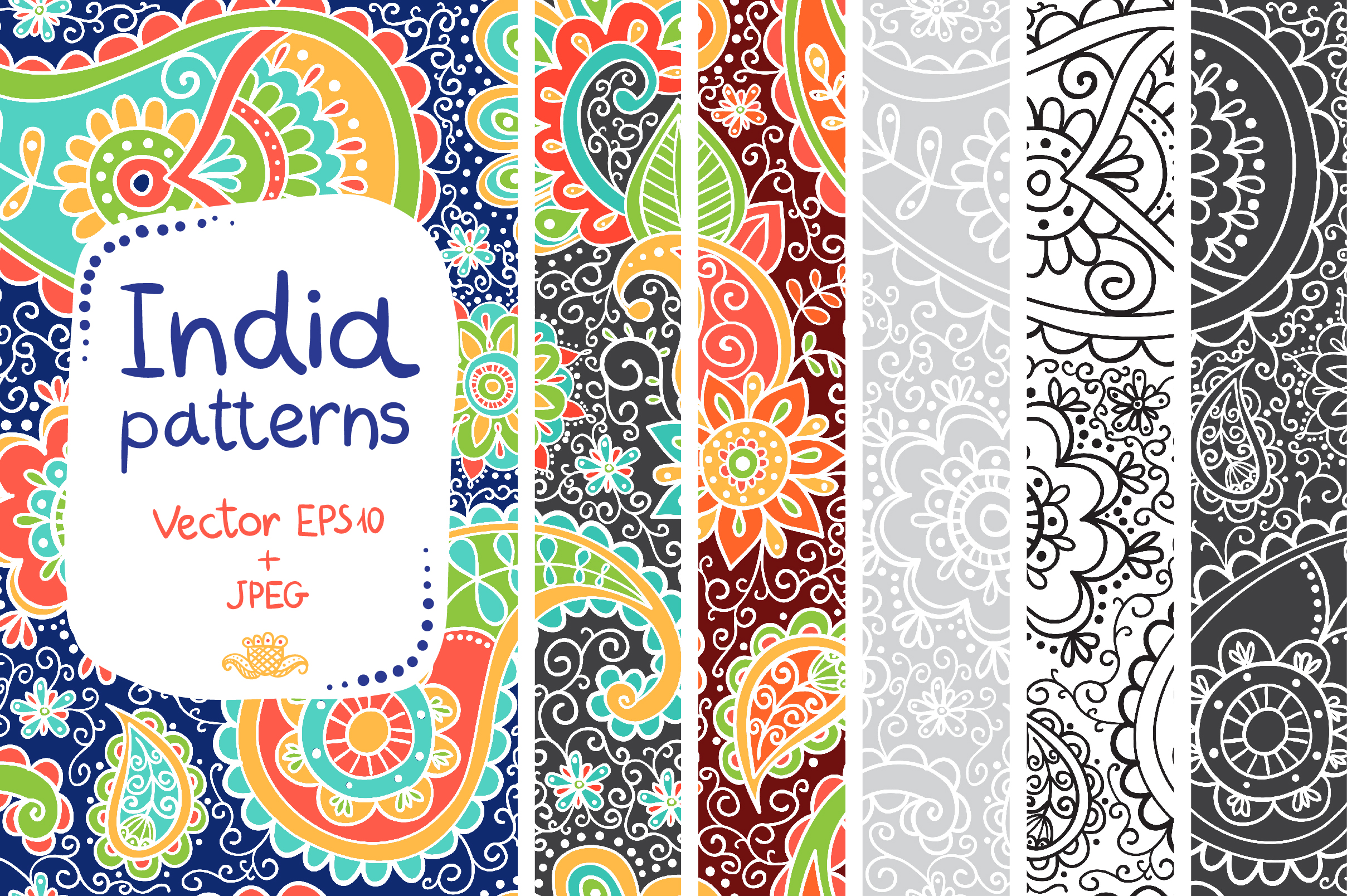 Indian patterns vector - photo#11