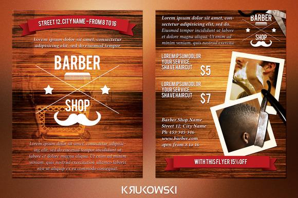 barber shop 2 sided flyer flyer templates on creative market. Black Bedroom Furniture Sets. Home Design Ideas