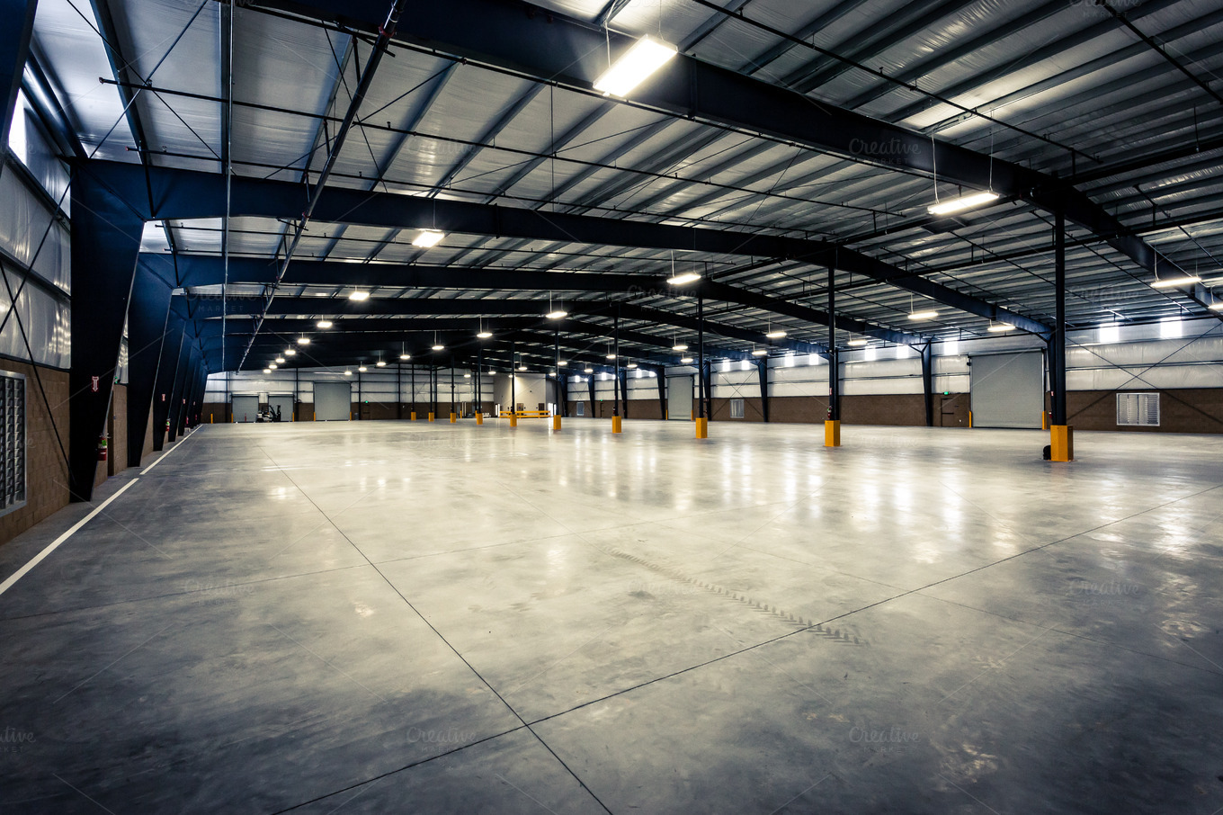 Large empty warehouse industrial photos on creative market for Warehouse plans designs