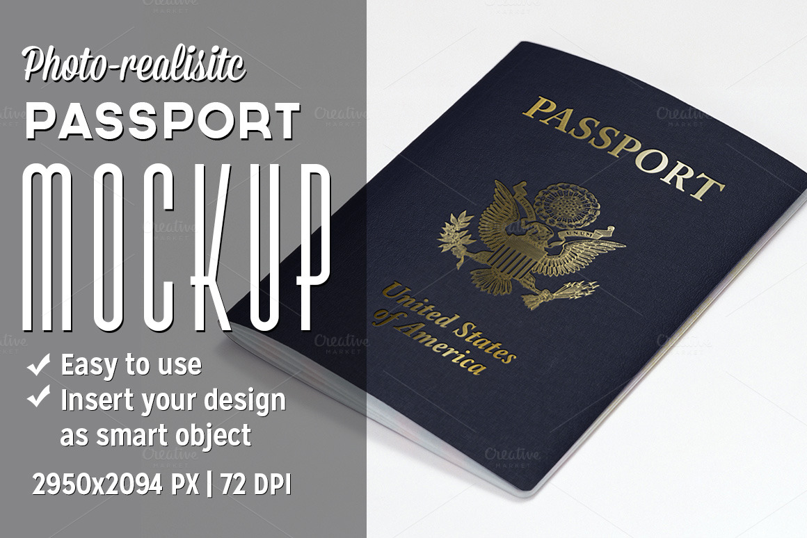 passport mockup product mockups on creative market. Black Bedroom Furniture Sets. Home Design Ideas