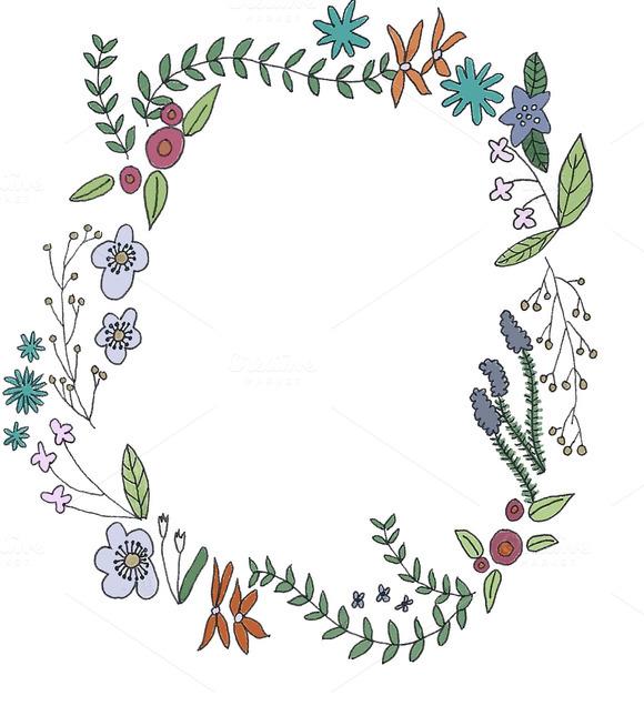 Hand drawn flower border graphics on creative market