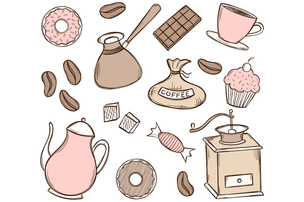 Doodle colorful coffee time set ~ Illustrations on ...