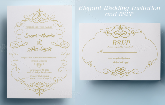 Ready To Print Wedding Invitations: Elegant Wedding Invitation And RSVP