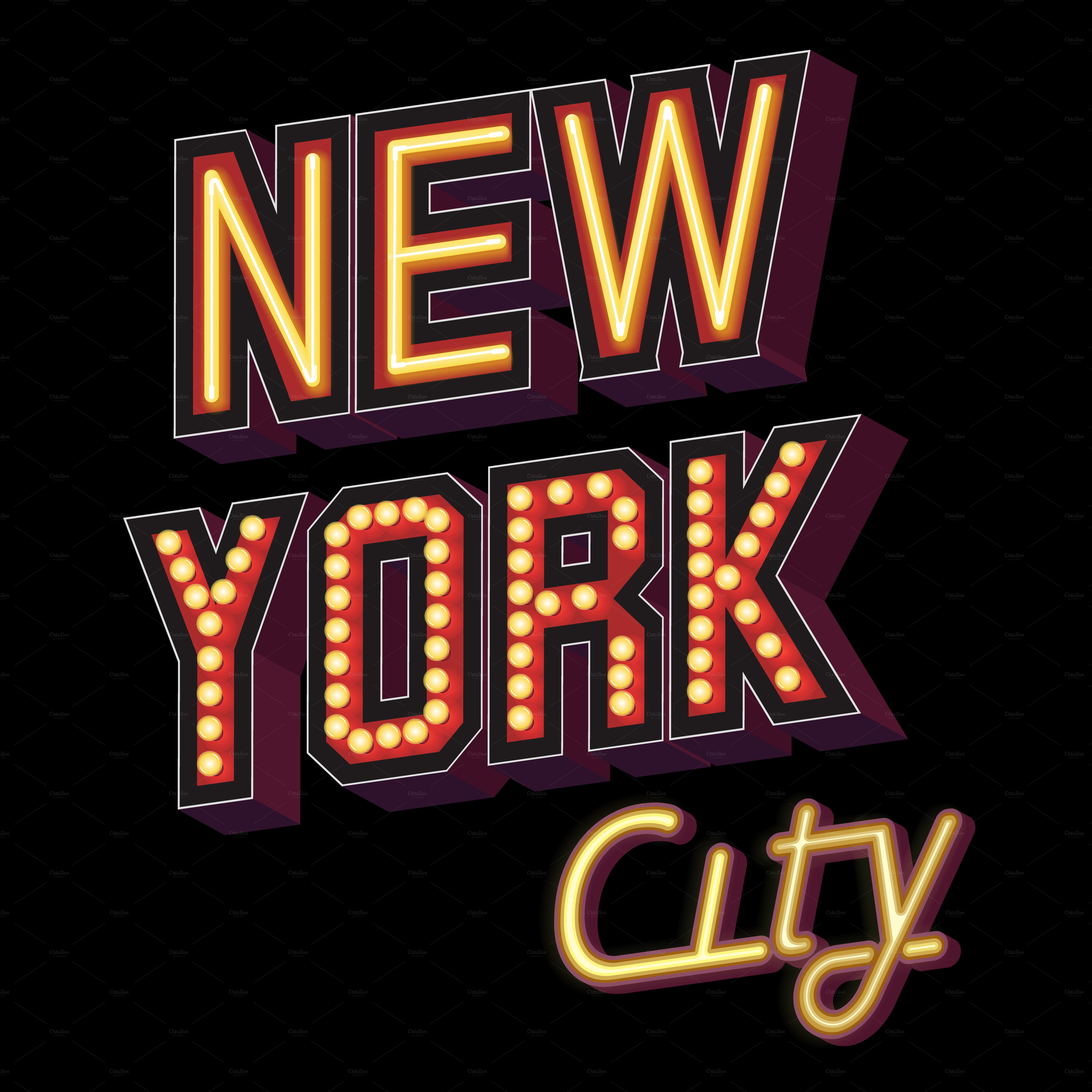 New York City Lettering Illustrations On Creative Market